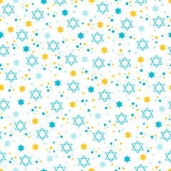 Rosh Hashanah Jewish New Year seamless pattern with confetti, stars