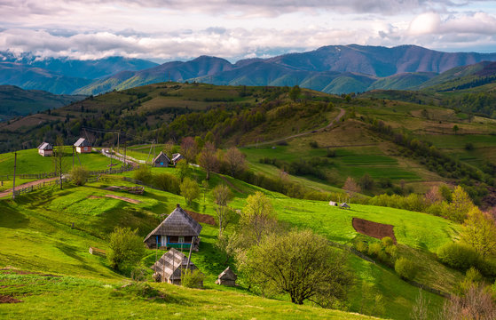 mountainous rural area in springtime. agricultural fields and orchards on a grassy slopes.  outdated industrial approach, traditional farming concept