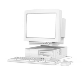 Old Desktop Computer with a Blank White Screen Monitor, Keyboard and Mouse Isolated