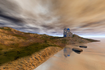 Church on the rock, an island landscape, reflection on water on a rocky beach and a cloudy sky.