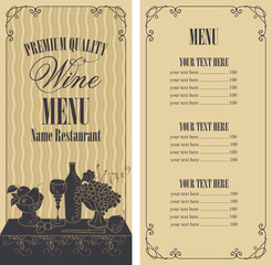 Vector wine list for restaurant or cafe menu with price list and still life with a glass of wine and a bowl of grapes and fruit in curly frame on wavy background in retro style.