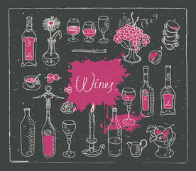 Vector set of images on the theme of wine. Drawing chalk on the blackboard in retro style with pink stains and splashes