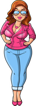 Sexy curvy BBW woman cartoon Pink Leather Jacket clipart