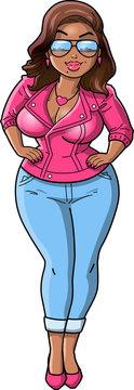 Sexy Black curvy BBW woman cartoon Pink Leather Jacket clipart