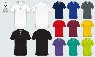 Polo t shirt sport design template for soccer jersey, football kit or sport club. Sport uniform in front view and back view. T-shirt mock up for sport club. Vector Illustration.