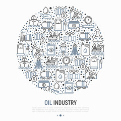 Oil industry concept in circle with thin line icons: gas, petroleum, diesel,  truck, tanker, ship, refinery, barrel. Modern vector illustration, web page template.