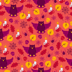 Halloween seamless pattern with owl, candle, leaves, skull, spider, web