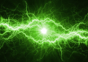 Green power lightning bolt, plasma and electric power background
