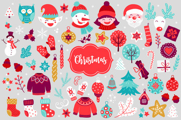 Christmas design elements with cartoon characters