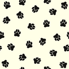 Dog paws. Seamless pattern with paw prints of a dog.