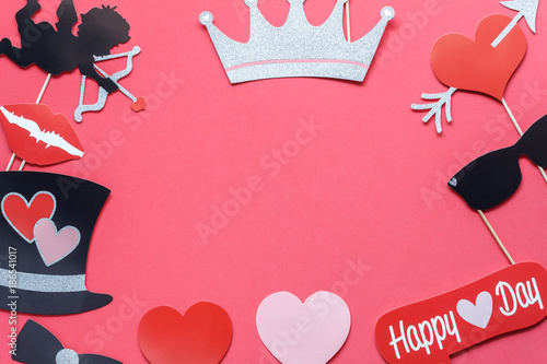 Table top view aerial image of sign valentine \'s day background ...