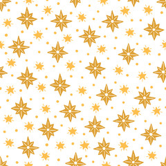 Christmas seamless pattern with gold stars on white background