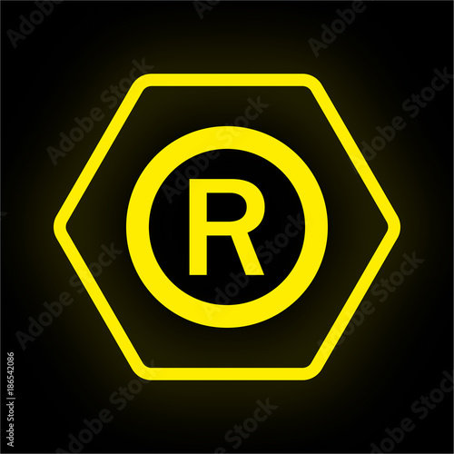 Neon Button Polygon R Copyright Stock Image And Royalty Free