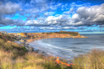 Scarborough England uk seaside town and tourist destination in colourful hdr