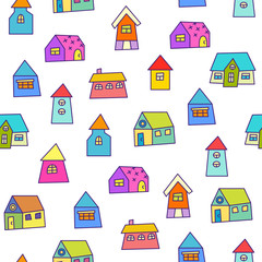 Doodle hand drawn town seamless pattern. Vector illustration for your cute design.