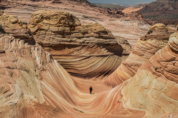High angle view of man standing at Grand Staircase-Escalante National Monument