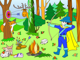 Children color arrow in the forest with animals