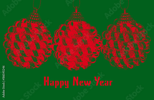 new year greeting template with red christmas bulbs on green background