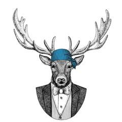 Deer Wild biker, pirate animal wearing bandana Hand drawn image for tattoo, emblem, badge, logo, patch, t-shirt