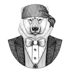 Bear, polar bear Wild biker, pirate animal wearing bandana Hand drawn image for tattoo, emblem, badge, logo, patch, t-shirt