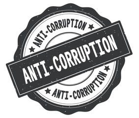 ANTI CORRUPTION text, written on grey round badge.