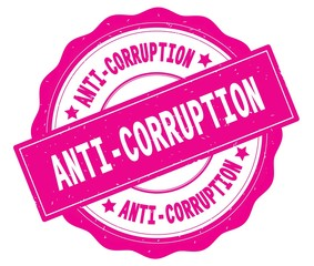 ANTI CORRUPTION text, written on pink round badge.