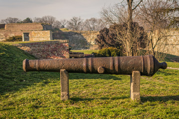 Old canons at Kalemegdan fortress wall in Belgrade