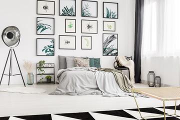 Modern bedroom with artwork