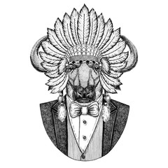 Buffalo, bull, ox Wild animal wearing inidan hat, head dress with feathers Hand drawn image for tattoo, t-shirt, emblem, badge, logo, patch
