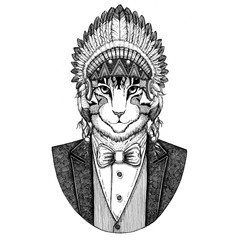 Image of domestic cat Wild animal wearing inidan hat, head dress with feathers Hand drawn image for tattoo, t-shirt, emblem, badge, logo, patch