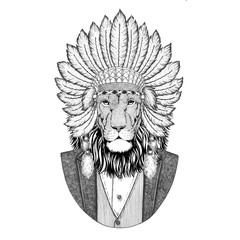 Wild Lion Wild animal wearing inidan hat, head dress with feathers Hand drawn image for tattoo, t-shirt, emblem, badge, logo, patch