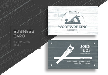 Business Card with Carpentry Tools and Wood Grain Background