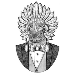 Rhinoceros, rhino Wild animal wearing inidan hat, head dress with feathers Hand drawn image for tattoo, t-shirt, emblem, badge, logo, patch