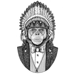 Chimpanzee Monkey Wild animal wearing inidan hat, head dress with feathers Hand drawn image for tattoo, t-shirt, emblem, badge, logo, patch