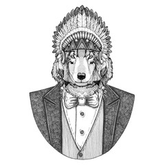 Wolf Dog Wild animal wearing inidan hat, head dress with feathers Hand drawn image for tattoo, t-shirt, emblem, badge, logo, patch