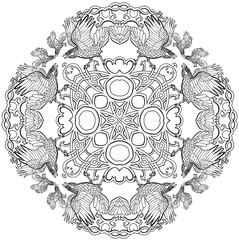 Vector illustration of Celtic knot ravens viking fantasy cross mandala black and white