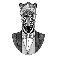 Zebra Horse Wild animal wearing inidan hat, head dress with feathers Hand drawn image for tattoo, t-shirt, emblem, badge, logo, patch