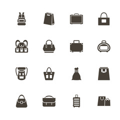 Bag icons. Perfect black pictogram on white background. Flat simple vector icon.