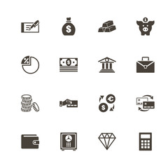 Banking icons. Perfect black pictogram on white background. Flat simple vector icon.