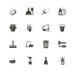 Cleaning icons. Perfect black pictogram on white background. Flat simple vector icon.