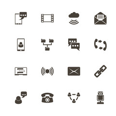 Communication icons. Perfect black pictogram on white background. Flat simple vector icon.