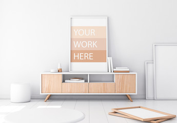 Framed Poster Mockup with Contemporary Furniture