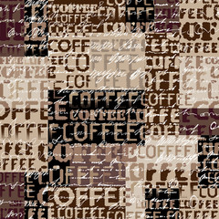 Coffee. Abstract coffee pattern on brown background with a lettring.