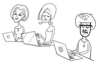 people working on laptops cartoon illustration