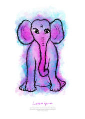 Elephant watercolor illustration, animal paint, Colorfu Hand sketch, drawing cute cartoon, print on t-shirt, greeting card template, picture printing, Vector hand drawn, business brochure flyer layout