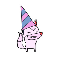 cartoon wolf in party hat