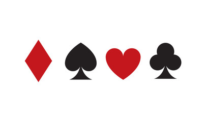 Playing Card Suits Icon set. Four card symbols. Vector stock.