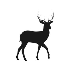 Deer silhouette isolated on white background. Vector stock.