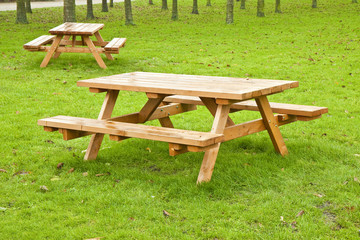 Two wooden picnic table on a green meadow with trees on background