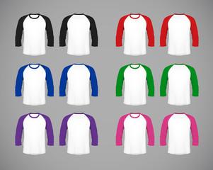 Men's slim-fitting long sleeve baseball shirt set. Multicolor Mock-up design template for branding.